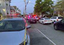 Multiple Shot Authorities respond to the scene where multiple people were wounded in a shooting, Thursday, May 13, 2021, in Providence, R.I. (AP Photo/William J. Kole) (William J. KoleSTF)