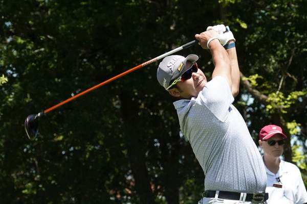 Hideki Matsuyama, of Japan, hits off the second tee during the first round of the AT&T Byron Nelson golf tournament, Thursday, May 13, 2021, in McKinney, Texas. (AP Photo/Tony Gutierrez)