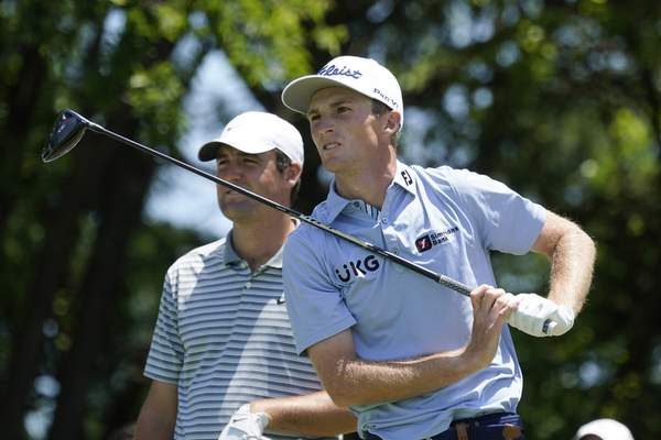 Will Zalatoris watches his tee shot on the fifth hole during the first round of the AT&T Byron Nelson golf tournament, Thursday, May 13, 2021, in McKinney, Texas. (AP Photo/Tony Gutierrez)