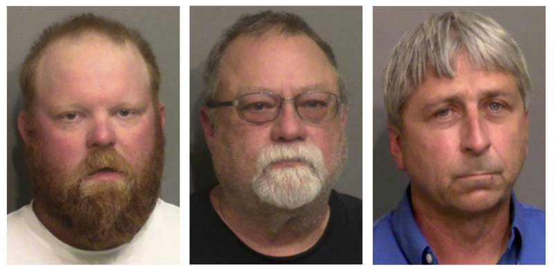 FILE - This combo of booking photos provided by the Glynn County, Ga., Detention Center, shows from left, Travis McMichael, his father Gregory McMichael, and William Roddie Bryan Jr. (Glynn County Detention Center via AP)