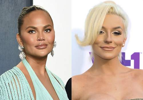 People-Chrissy Teigen Chrissy Teigen appears at the Vanity Fair Oscar Party in Beverly Hills, Calif. on Feb. 9, 2020, left, and Courtney Stodden appears at the 5th Annual Streamy Awards in Los Angeles on Sept. 17, 2015. (AP Photo) (STF)