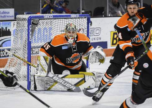 Mike Moore | The Journal Gazette Komets goalie Dylan Ferguson defends the net in the first period against Wheeling at Memorial Coliseum on Friday.