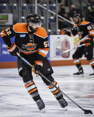Mike Moore   The Journal Gazette Komets defenseman Mathieu Brodeur controls the puck in the first period against Wheeling at Memorial Coliseum on Friday.