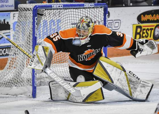 Mike Moore   The Journal Gazette Komets goalie Dylan Ferguson defends the net in the first period against Wheeling at Memorial Coliseum on Friday.