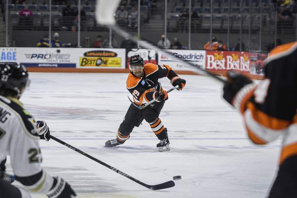 Mike Moore   The Journal Gazette Komets defenseman Marcus McIvor takes a shot at the net in the first period against Wheeling at Memorial Coliseum on Friday.