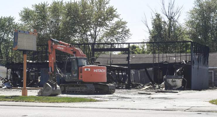 Michelle Davies   The Journal Gazette The shell of a warehouse after police and fire crews were dispatched to 515 N. Line St. after an explosion Saturday morning in Columbia City.