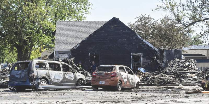Michelle Davies   The Journal Gazette The City Vision Center suffered fire damage after a warehouse at 515 N. Line St in Columbia City exploded Saturday morning resulting in one death and two injuries.