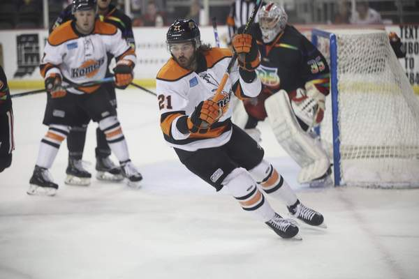 Whiteshark Photography  Komets forward Marco Roy chases the puck Friday at Indiana Farmers Coliseum in Indianapolis.