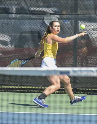 Michelle Davies   The Journal Gazette Homestead's Olivia Creech keeps her eye on the ball during her match against Northridge's Riley Wheatley on Saturday at semistate at Homestead.