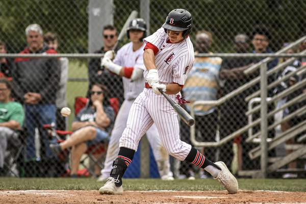 Mike Moore | The Journal Gazette Bishop Luers sophomore Cam Martinez bats during the fourth inning Monday against Leo. He hit a single in the inning for the Knights' first hit.