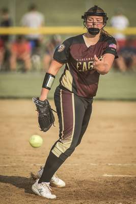 Columbia City pitcher Natalie Haselby delivers to the plate during the regional championship at Northrop High School on Tuesday.