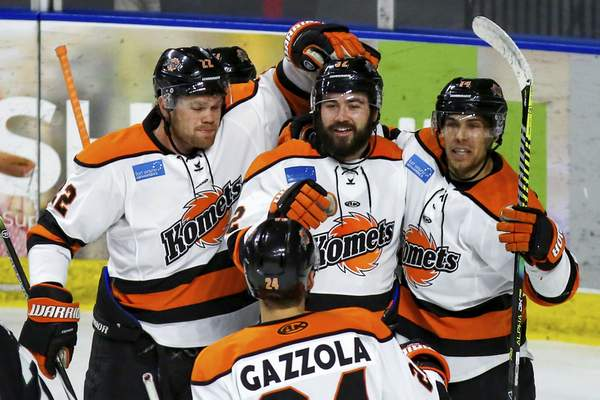 Utah Grizzlies Photography  Morgan Adams-Moisan, top middle, celebrates his first-period goal in West Valley City, Utah, on Wednesday with Matt Murphy, top left, Anthony Nellis, top right, and Randy Gazzola.