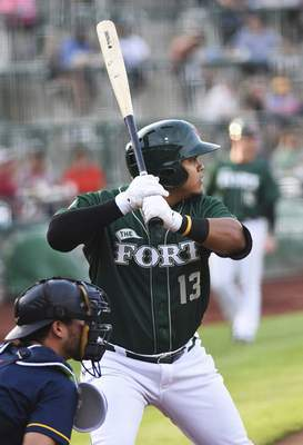 Katie Fyfe | The Journal Gazette  TinCaps first baseman Yorman Rodriguez bats during the second inning against the Kernels at Parkview Field on Thursday.