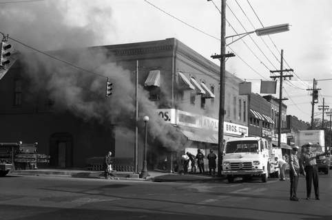 Aug. 2, 1962: A fire with heavy smoke damaged Maloley Brothers grocery store at Broadway and Jefferson Street. (Journal Gazette file photo)