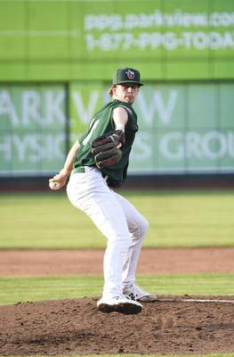 Katie Fyfe | The Journal Gazette  TinCaps pitcher Ethan Elliott pitches during the third inning against the Kernels at Parkview Field on Thursday.