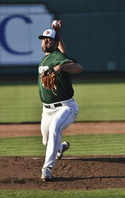 Katie Fyfe | The Journal Gazette  TinCaps pitcher Matt Waldrondelivers during the third inning against the Kernels at Parkview Field on Friday.