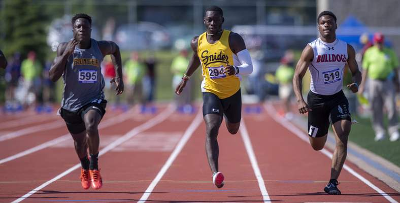 Tavarious Easley-Jones (294), Fort Wayne Snider, compete in the Boys 100 Dash during the 117th Annual IHSAA Boys' State Track and Field Finals at Ben Davis High School, Friday, June 4, 2021. (Doug McSchooler/for Journal-Gazette)