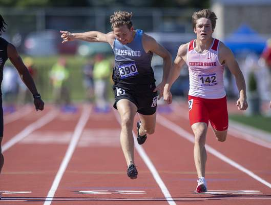 Zach Collins (390), Lakewood Park Christian compete in the Boys 100 Dash during the 117th Annual IHSAA Boys' State Track and Field Finals at Ben Davis High School, Friday, June 4, 2021. (Doug McSchooler/for Journal-Gazette)