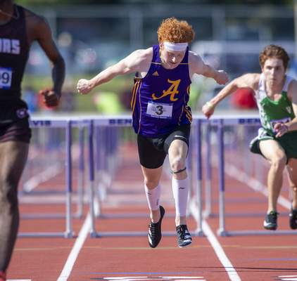 Garrett Sauter (3), Angola High School, competes in the Boys 110 Hurdles during the 117th Annual IHSAA Boys' State Track and Field Finals at Ben Davis High School, Friday, June 4, 2021. (Doug McSchooler/for Journal-Gazette)