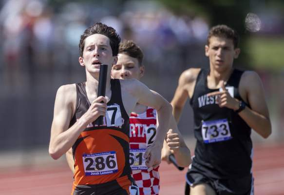 Jonah Lemmon (286), Fort Wayne Northrop, competes in the Boys 4x800 Meter Relay during the 117th Annual IHSAA Boys' State Track and Field Finals at Ben Davis High School, Friday, June 4, 2021. (Doug McSchooler/for Journal-Gazette)