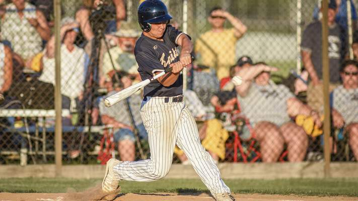 Mike Moore | The Journal Gazette Norwell sophomore Lleyton Bailey at bat in the first inning against Leo during the regional championship at Bellmont High School on Saturday.