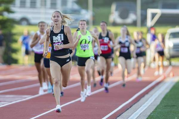Huntington North's Addison Wiley competes in the 800m run at the 2021 IHSAA Girls State Track Meet on June 5, 2021 at Ben Davis High School in Indianapolis, IN. (Credit Image: Chad Williams)