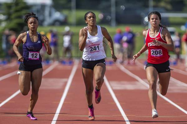 FW Northrup's Tajaina McKenzie competes in the 100m Dash at the 2021 IHSAA Girls State Track Meet on June 5, 2021 at Ben Davis High School in Indianapolis, IN. (Credit Image: Chad Williams)