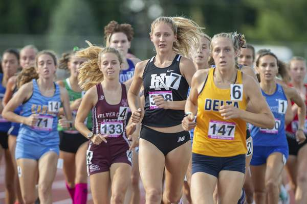 Huntington North's Addison Wiley competes in the 1600m run at the 2021 IHSAA Girls State Track Meet on June 5, 2021 at Ben Davis High School in Indianapolis, IN. (Credit Image: Chad Williams)