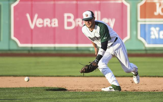 Katie Fyfe | The Journal Gazette  The TinCaps' Seamus Curran gets ready to field the ball at first base during the third inning against the Captains at Parkview Field on Tuesday.