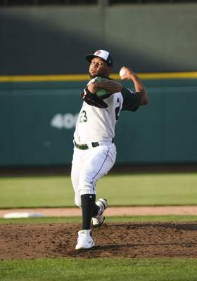 Katie Fyfe | The Journal Gazette  TinCaps pitcher Anderson Espinoza delivers the ball during most of the third inning against the Captains at Parkview Field on Tuesday.