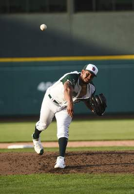 Katie Fyfe | The Journal Gazette  TinCaps pitcher Anderson Espinoza delivers the ball during the third inning against the Captains at Parkview Field on Tuesday.
