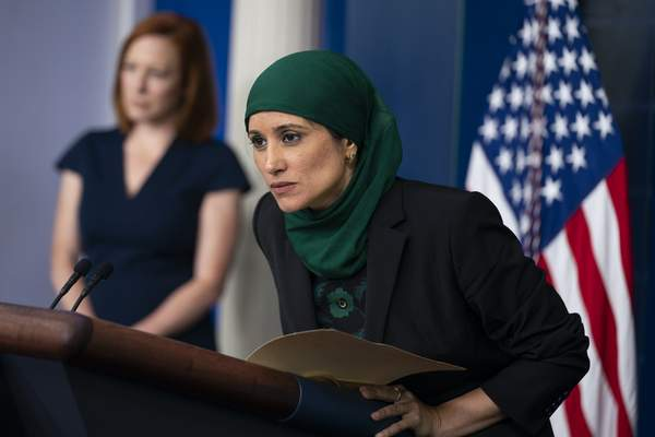 Associated Press  Sameera Fazili, deputy director of the National Economic Council, listens to a question during a press briefing Tuesday at the White House.