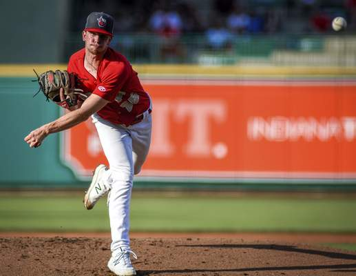 Mike Moore | The Journal Gazette TinCaps pitcher Ethan Elliott pitching in the second inning against Lake County at Parkview Field on Wednesday.