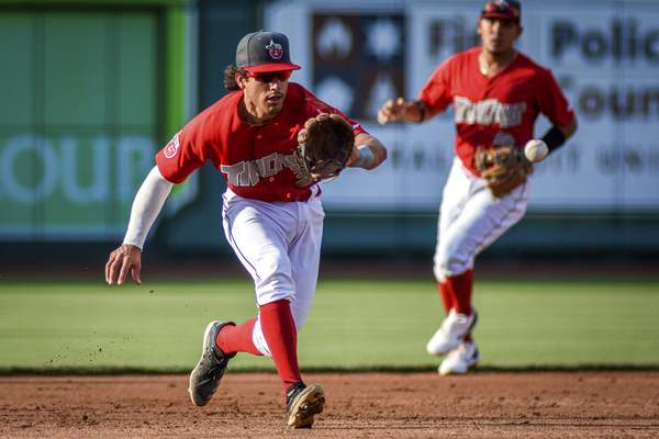 Mike Moore | The Journal Gazette TinCaps third baseman Ethan Skenker makes a play in the second inning against Lake County at Parkview Field on Wednesday.