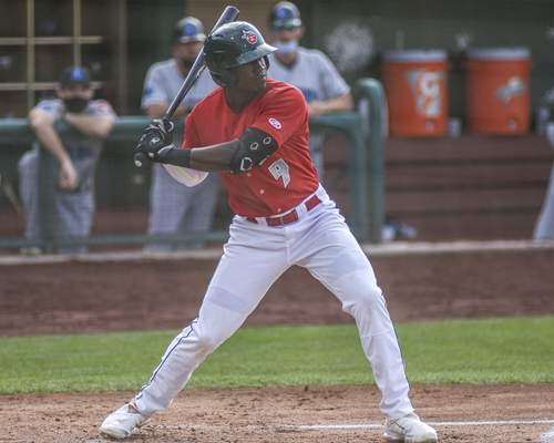 Mike Moore | The Journal Gazette TinCaps designated hitter Dwanya Williams-Sutton batting in the second inning against Lake County at Parkview Field on Wednesday.