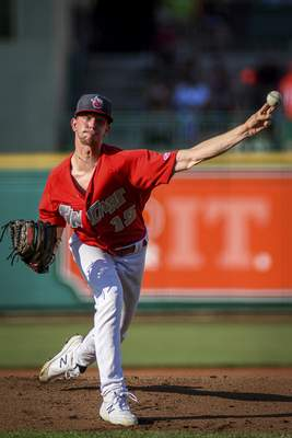 Mike Moore | The Journal Gazette TinCaps pitcher Ethan Elliott pitching in the first inning against Lake County at Parkview Field on Wednesday.