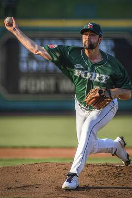 Mike Moore | The Journal Gazette TinCaps pitcher Matt Waldron pitching in the first inning against Lake County at Parkview Field on Thursday.