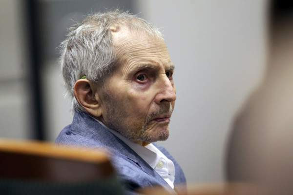 FILE - In this March 10, 2020, file photo, real estate heir Robert Durst looks over during his murder trial in Los Angeles. (AP Photo/Alex Gallardo, Pool, File)