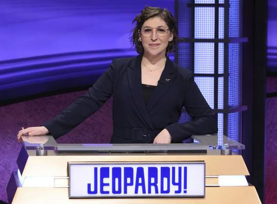 In this image provided by Jeopardy Productions, Inc., guest host Mayim Bialik appears on the set of Jeopardy! (Carol Kaelson/Jeopardy Productions, Inc. via AP)