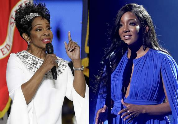Gladys Knight sings the national anthem before the NFL Super Bowl 53 football game on Feb. 3, 2019, in Atlanta, left, and Mickey Guyton performs at the 56th annual Academy of Country Music Awards on April 16, 2021, in Nashville, Tenn. (AP Photo)