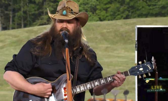 In this video image provided by CMT, Chris Stapleton performs Arkansas at the CMT Music Awards. (CMT via AP)