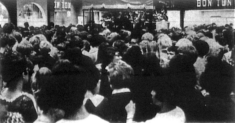 Jonathan Frid, who stared as Barnabas Collins in the gothic soap opera Dark Shadows, visited Glenbrook Shopping Center the week of May 20 and was greeted by a crowd of young fans. This image is a scan of a scan, hence the poor quality. (Journal Gazette file photo)