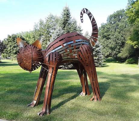 """Courtesy photos Greg Summer's 9-foot-by-8-foot """"CAT"""" is part of the 2021 Decatur Sculpture Tour."""