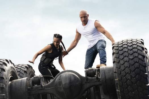Film-Fast and Furious-Future This image released by Universal Pictures shows Nathalie Emmanuel, left, and Vin Diesel in a scene from