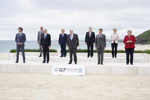 G7 Biden Associated Press Posing for the traditional G-7 group photo Friday  in Carbis Bay, England,  are, from left, Canadian Prime Minister Justin Trudeau, European Council President Charles Michel, U.S. President Joe Biden, Japan's Prime Minister Yoshihide Suga, British Prime Minister Boris Johnson, Italy's Prime Minister Mario Draghi, French President Emmanuel Macron, European Commission President Ursula von der Leyen, and German Chancellor Angela Merkel. (Patrick SemanskyPOOL)