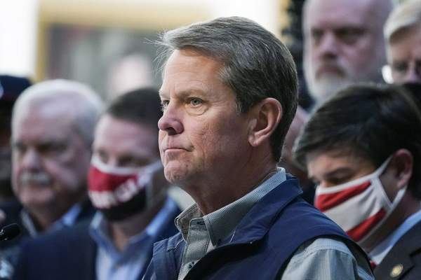 In this April 3, 2021 file photo, Georgia Gov. Brian Kemp speaks during a news conference at the State Capitol in Atlanta. (AP Photo/Brynn Anderson, file)