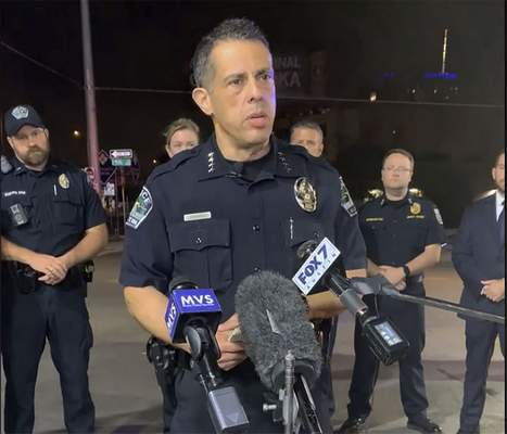 This photo provided by Austin Police Department shows Chief Chacon providing an update on overnight shootings in Austin, Texas, early Saturday, June 12, 2021. (Austin Police Department via AP)