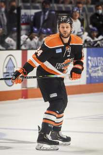 Mike Moore   The Journal Gazette Komets defenseman Randy Gazzola watches for the puck in the first period against Wichita on Saturday.