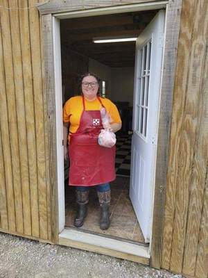 Former Whitko student Morgan O'Reilly processed the poultry at a business she operates in Larwill.