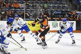 Katie Fyfe | The Journal Gazette  Komets forward Marc-Olivier Roy shoots during the second period against Wichita at Memorial Coliseum on Monday.